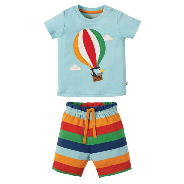 FRUGI - LITTLE PERRAN PYJAMA - KURZER SCHLAFANZUG - Tidal Blue /Hot Air Balloon