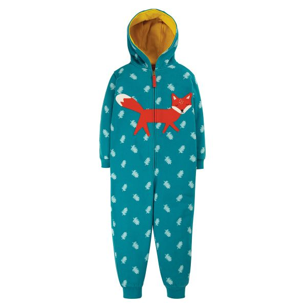 FRUGI - BIG APPLIQUE SNUGGLE SUIT - KUSCHEL OVERALL - TEAL ACORN LEAVES/FOX