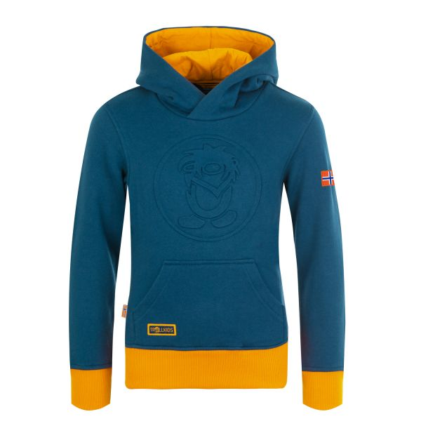 TROLLKLIDS - KIDS LILLEHAMMER SWEATER - KAPUZENPULLOVER - MYSTIC BLUE/GOLDEN YELLOW
