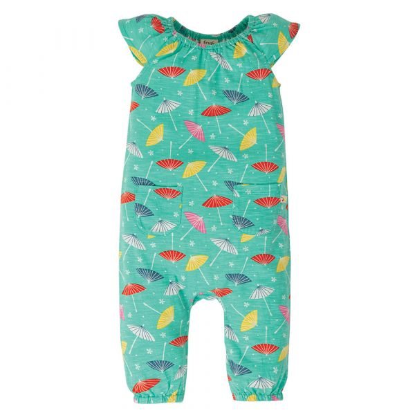 FRUGI - NIAMH GATHERED PLAYSUIT - SOMMER OVERALL - PACIFIC AQUA PARASOLS