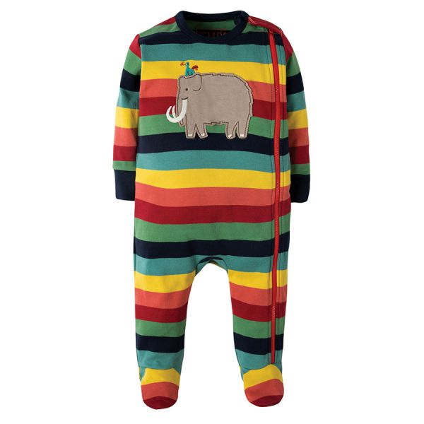 Cute Zipped Babygrow - Streifen Overall - Rainbow Marl Stripe/Mammoth