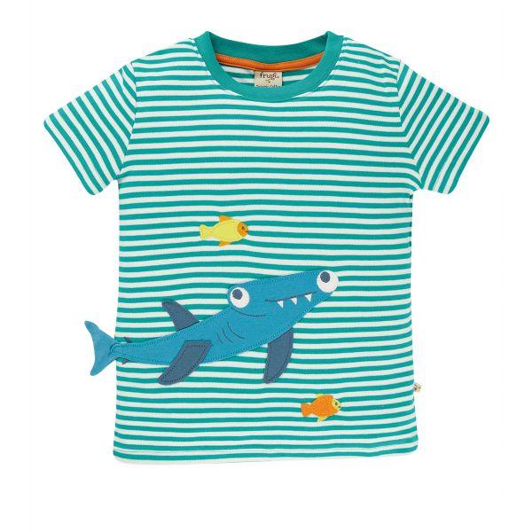 FRUGI - JOSHUA APPLIQUE T-SHIRT - KURZARM T- SHIRT - JEWEL STRIPE/SHARK