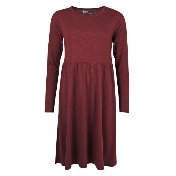 DANEFAE - SKANDERBORG DRESS - DAMEN LANGARM KLEID - DARK BORDEAUX