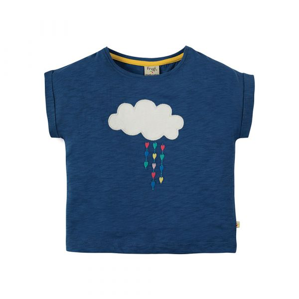 Frugi - Sophia Slub - Mädchen Kurzarmshirt - Marine Blue/Cloud