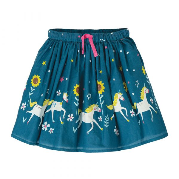 FRUGI - TWIRLY DREAM SKIRT - LEICHTER BAUMWOLLROCK - STEELY BLUE UNICORN SKATES