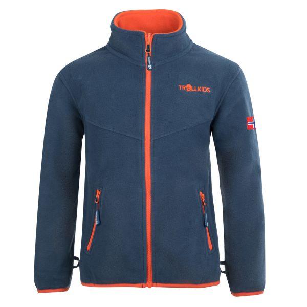 TROLLKIDS - Kids Oppdal Jacket XT - weiche Fleece-Jacke - mystic blue/orange