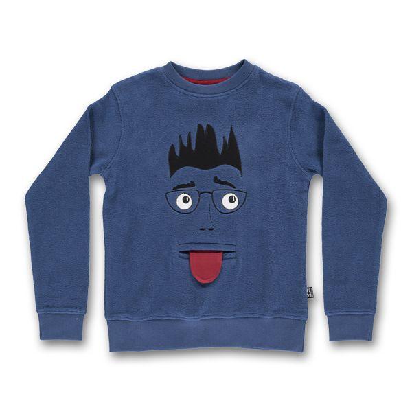 Ubang - Hey! Sweat - Langarm T- shirt - Gesicht mit Zunge/Dark denim