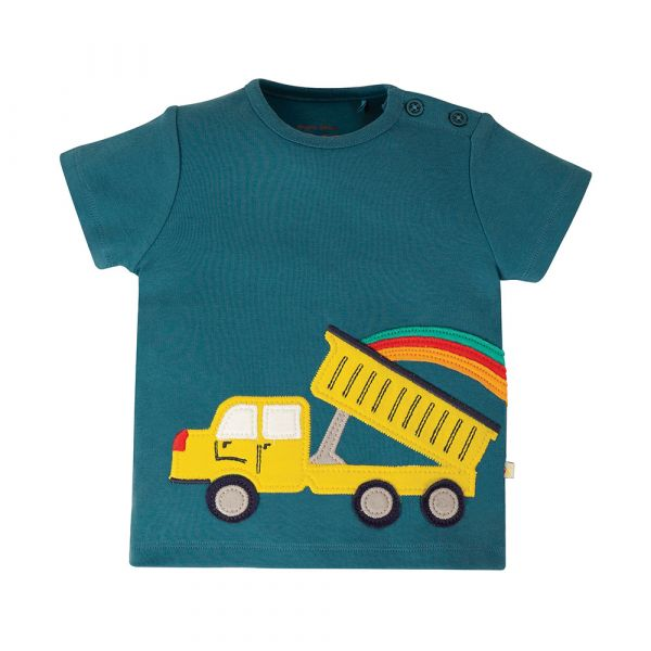 FRUGI - SCOUT APPLIQUE TOP - KURZARM T-SHIRT - STEELY BLUE/TRUCK
