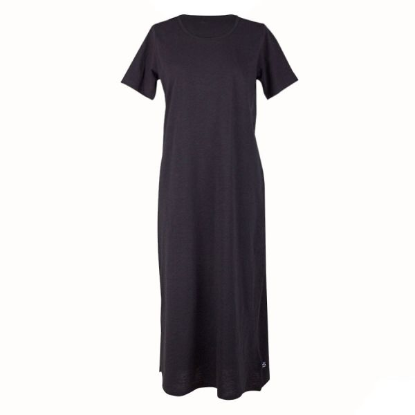 Danefae - ORGANIC - CASILDA DRESS - langes Damen Kurzarmkleid - black
