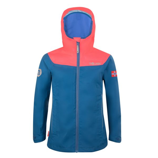TROLLKIDS - GIRLS BERGEN JACKET - OUTDOORJACKE MIT KLEINEM PACKMASS - MIDNIGHT BLUE/CORAL