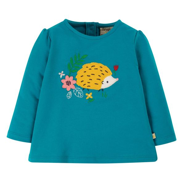 FRUGI - LITTLE ALANA APPLIQUE TOP - MÄDCHEN LANGARMSHIRT - TOBERMORY TEAL/HEDGEHOG
