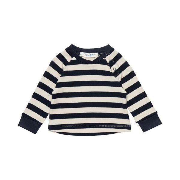 Sense Organics - DAVID Raglan Langarmshirt - Navy/Grey stripes