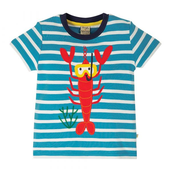FRUGI - SID APPLIQUE - KURZARM T-SHIRT - MOTOSU BLUE STRP/LOBSTER