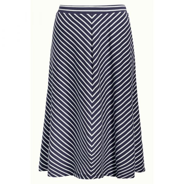 KING LOUIE - JUNO JERSEY SKIRT BRETON STRIPE - DAMEN STREIFEN ROCK - BLUE_1