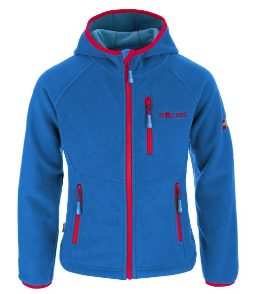 TROLLKIDS - Kids Stavanger Jacket - winddichte Kapuzen- Fleeceacke - med blue/red