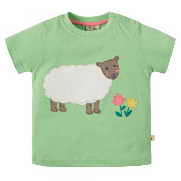 Frugi - Little Polkerris Applique - Kurzarm T- Shirt - Soft Green Sheep