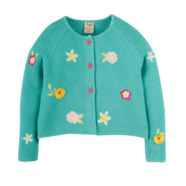 FRUGI - EMILIA EMBROIDERED CARDIGAN - STRICKJACKE - AQUA/FLOWER