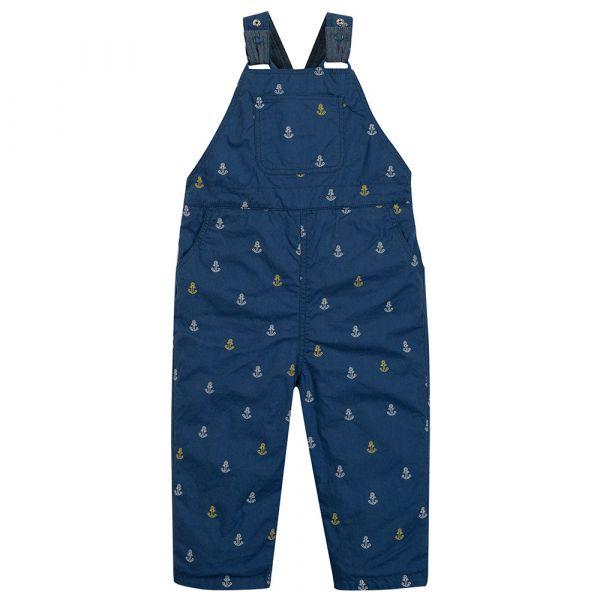 Frugi - Little Tom Dungaree - Latzhose zum Wenden - Marine Blue Anchors