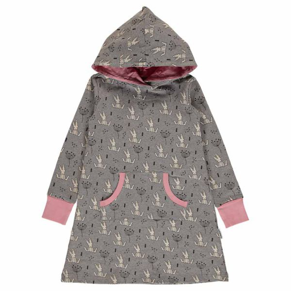 Maxomorra - Dress Hoodie Sweat - Bio Kapuzenkleid - Sweet Bunny