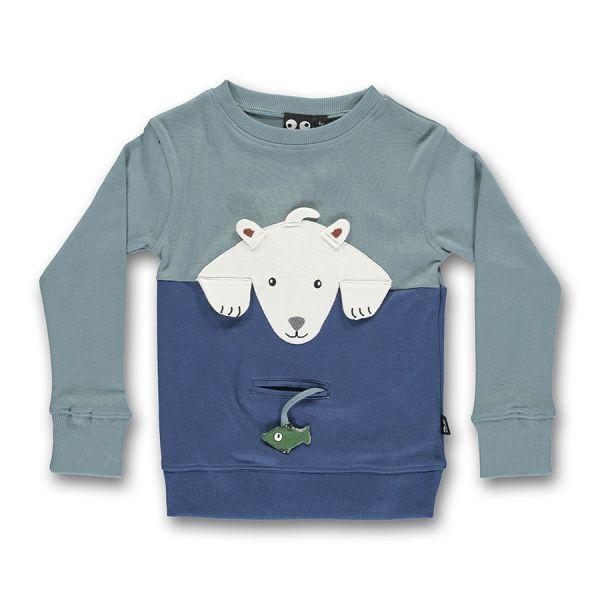 Ubang - Polar bear tee - Langarm T- shirt - Eisbär/Slate