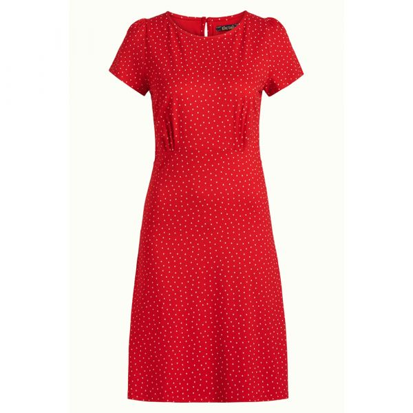 KING LOUIE - DUFFY MINI DRESS LITTLE DOTS - DAMEN KLEID - CHILI RED