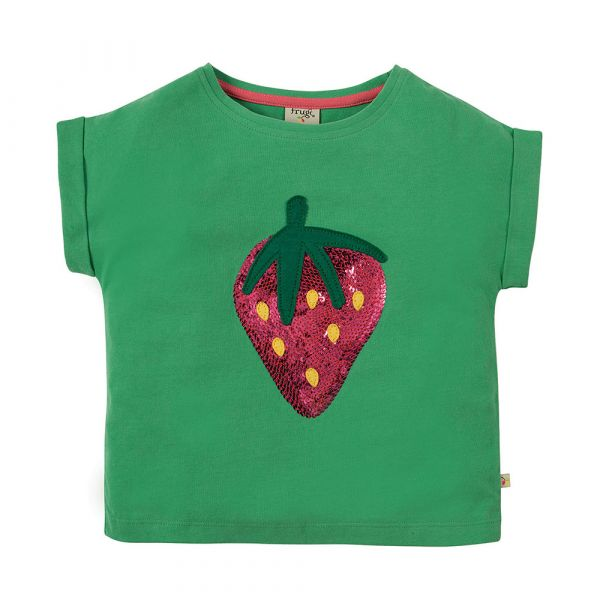 Frugi - Bella Sequin - Kurzarm T- Shirt - Field/Strawberry
