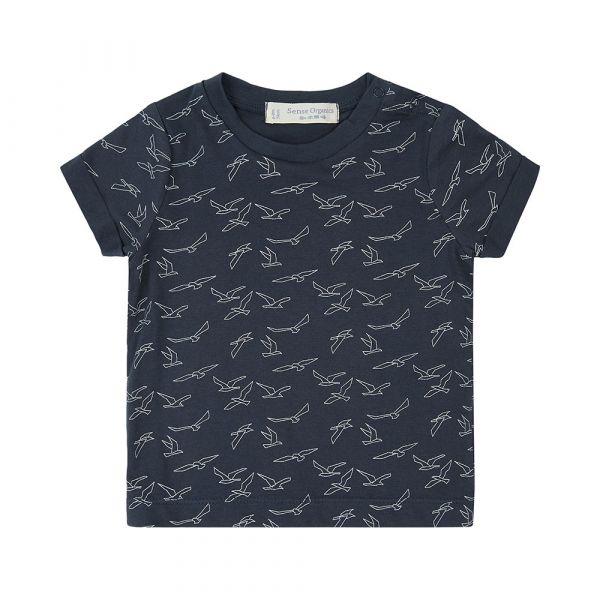 SENSE ORGANICS - ODO BABY SHIRT - KURZARM T- SHIRT - AOP BIRDS NAVY
