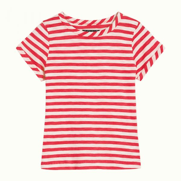 KING LOUIE PETITE - TEE STRIPE ROYAL - MÄDCHEN KURZARM T- SHIRT - CHILLI RED