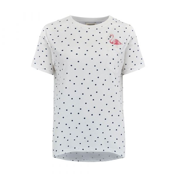 SUGARHILL - MIMI - FLAMINGO POLKA DOT T- Shirt - WHITE/NAVY