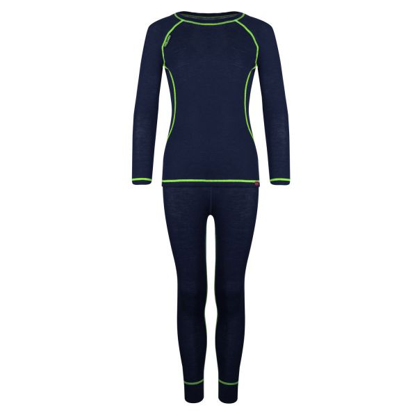 TROLLKLIDS - KIDS MERINO BASELAYER SET - MERINO-UNTERWÄSCHE-SET - NAVY/VIPER GREEN