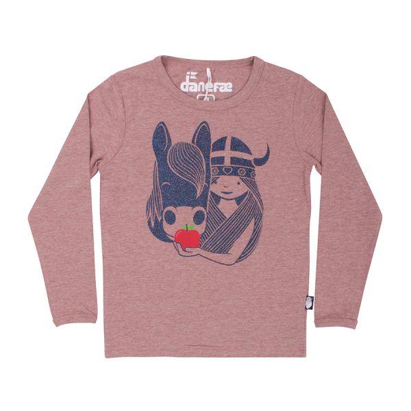 Danefae - Northpole Tee - Mädchen Langarmshirt Glitzer - Dry Rose Horse
