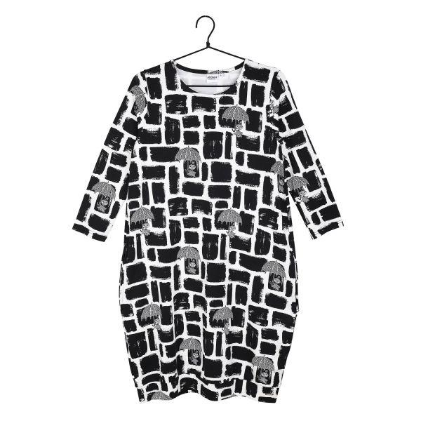 MARTINEX - SIVI DRESS FEISTY - DAMEN LANGARM KLEID - BLACK WHITE