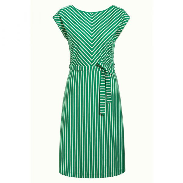KING LOUIE - GRACE DRESS BRETON STRIPE - DAMEN KURZARM KLEID - VERY GREEN