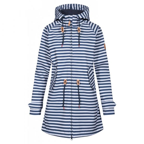 DERBE - ISLAND FRIESE STRIPED - DAMEN SOFTSHELLMANTEL - NAVY/WHITE