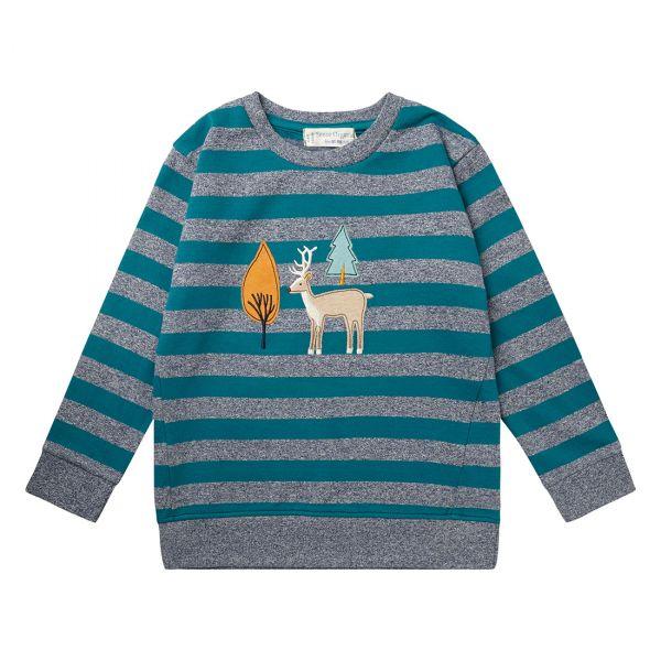 Sense Organics - FINN Sweatshirt - Teal/Grey stripes/Fox