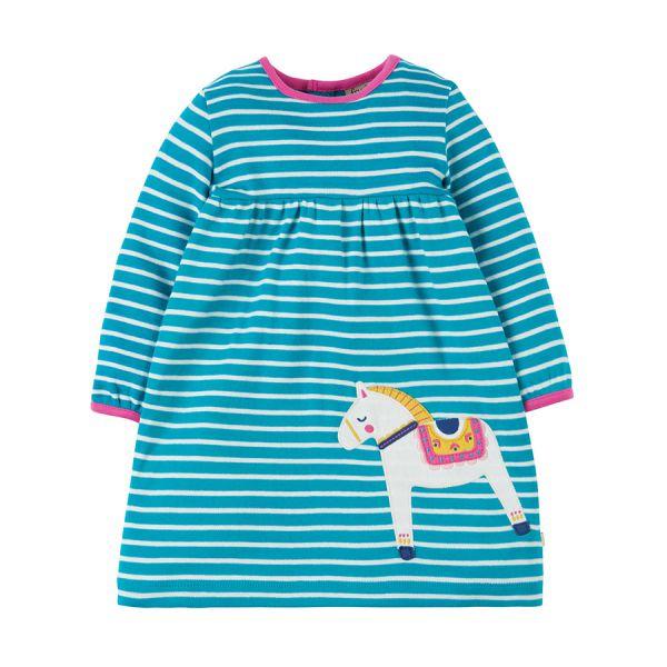 Dolcie Dress - Langarm Kleid - Seaglass Breton/Dala Horse