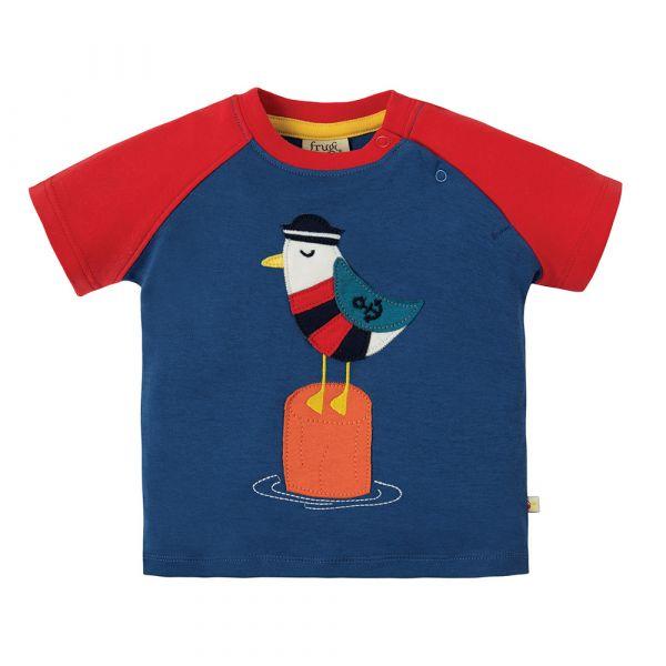 Frugi - Renny Raglan - Kurzarm T- Shirt - Marine Blue/Seagull