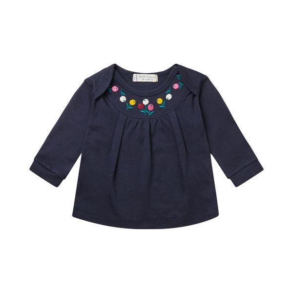 Sense Organics - LUISA - BABY SHIRT LANGARM - Navy/Flower Embroidery