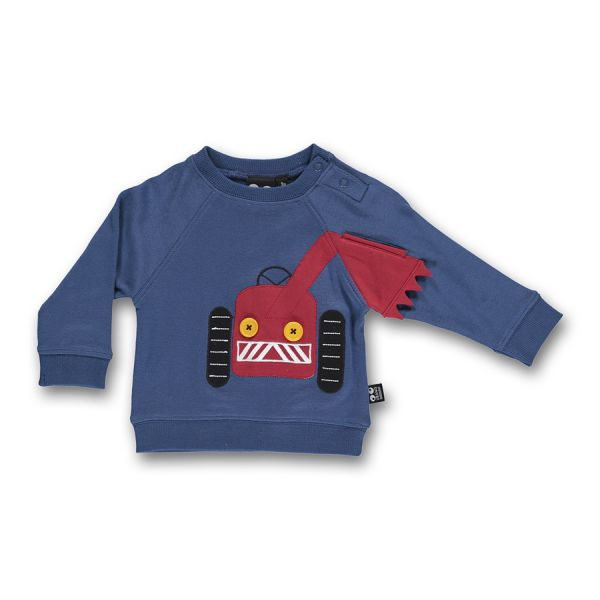 Ubang - Baby big mashine tee - Baby Langarmshirt - Mähdrescher/Dark denim